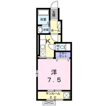 物件番号: 1110310133 ルフレ ISSA 一茶 富山市山室荒屋 1K アパート 間取り図