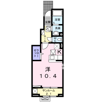物件番号: 1110309705 ケルンⅤ 富山市新庄町4丁目 1K アパート 間取り図
