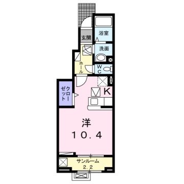 物件番号: 1110309706 ケルンⅤ 富山市新庄町4丁目 1K アパート 間取り図