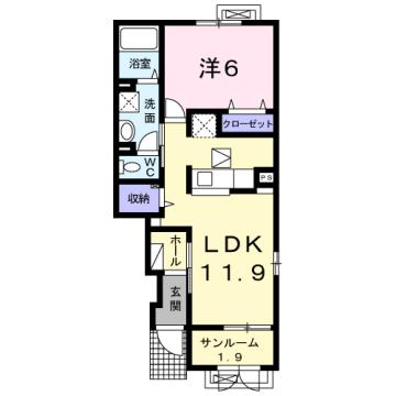 物件番号: 1110309712 ケルンⅥ 富山市新庄町4丁目 1LDK アパート 間取り図