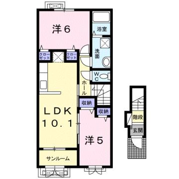物件番号: 1110309713 ケルンⅥ  富山市新庄町4丁目 2LDK アパート 間取り図