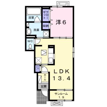 物件番号: 1110309723 グランリーオ・R Ⅰ  富山市上二杉 1LDK アパート 間取り図
