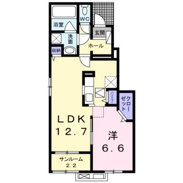 物件番号: 1110309730 グランリーオ・R Ⅱ  富山市上二杉 1LDK アパート 間取り図