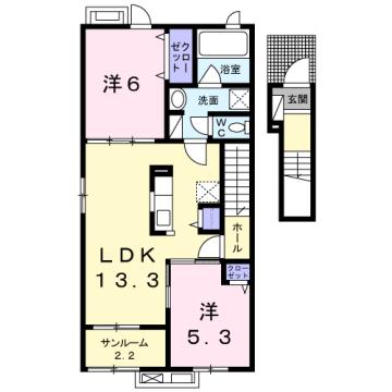 物件番号: 1110309737 グランリーオ・R Ⅲ  富山市上二杉 2LDK アパート 間取り図