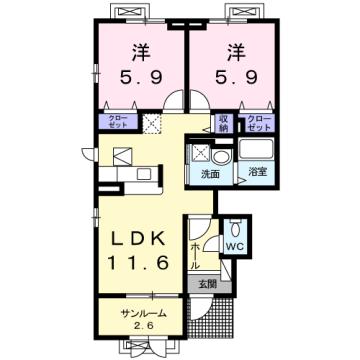 物件番号: 1110309741 メゾン・ド・リシェスA  富山市豊若町3丁目 2LDK アパート 間取り図