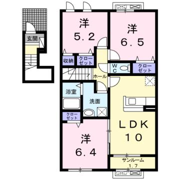 物件番号: 1110309744 メゾン・ド・リシェスB 富山市豊若町3丁目 3LDK アパート 間取り図