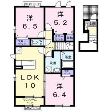 物件番号: 1110309745 メゾン・ド・リシェスB  富山市豊若町3丁目 3LDK アパート 間取り図