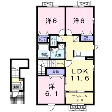 物件番号: 1110309760 グロース フリーデ  富山市下堀 3LDK アパート 間取り図