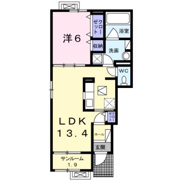 物件番号: 1110309763 シェーナ アン  富山市小杉 1LDK アパート 間取り図