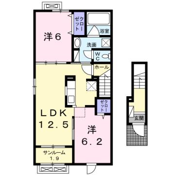 物件番号: 1110309771 シェーナ ドゥ  富山市小杉 2LDK アパート 間取り図