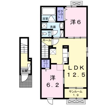 物件番号: 1110309774 シェーナ ドゥ 富山市小杉 2LDK アパート 間取り図