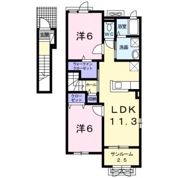 物件番号: 1110309777 ドゥ・ステージアⅦ 富山市小杉 2LDK アパート 間取り図