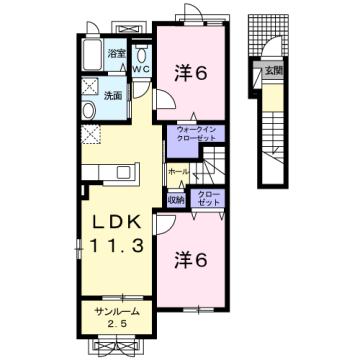 物件番号: 1110309778 ドゥ・ステージアⅦ  富山市小杉 2LDK アパート 間取り図