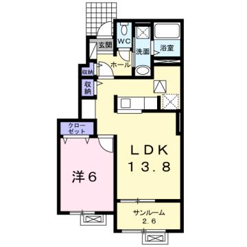 物件番号: 1110309780 ドゥ・ステージアⅧ  富山市小杉 1LDK アパート 間取り図