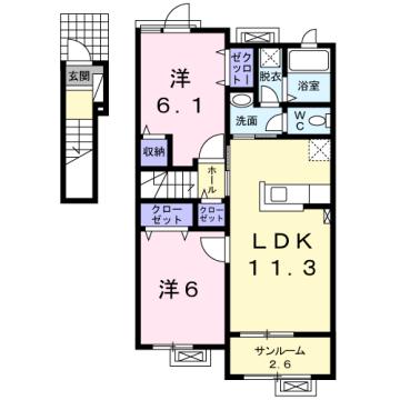物件番号: 1110309784 ドゥ・ステージアⅧ 富山市小杉 2LDK アパート 間取り図