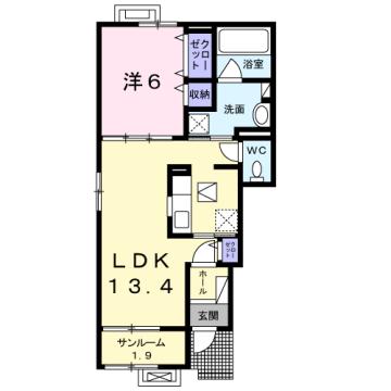 物件番号: 1110309927 茜タニエールA 富山市赤田 1LDK アパート 間取り図