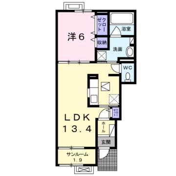 物件番号: 1110309929 茜タニエールA  富山市赤田 1LDK アパート 間取り図