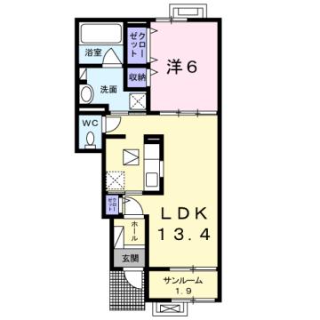 物件番号: 1110309930 茜タニエールA 富山市赤田 1LDK アパート 間取り図