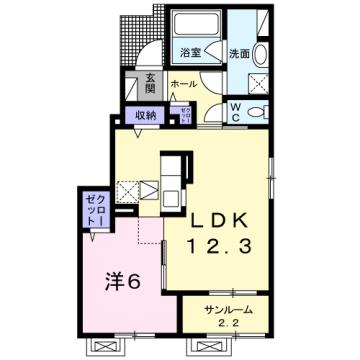 物件番号: 1110309932 茜タニエールB  富山市赤田 1LDK アパート 間取り図