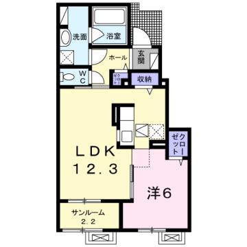物件番号: 1110309934 茜タニエールB 富山市赤田 1LDK アパート 間取り図