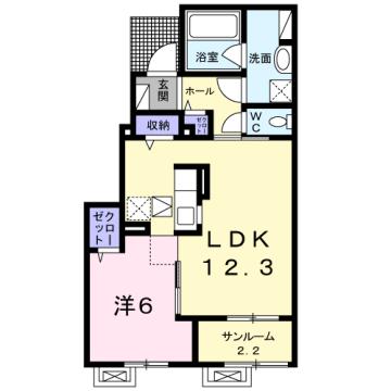物件番号: 1110309935 茜タニエールB  富山市赤田 1LDK アパート 間取り図
