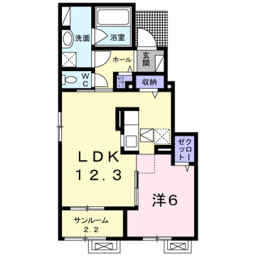 物件番号: 1110309936 茜タニエールB  富山市赤田 1LDK アパート 間取り図