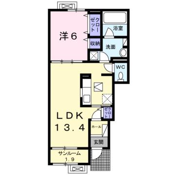 物件番号: 1110309801 サン・メゾン Ⅱ  富山市中川原 1LDK アパート 間取り図