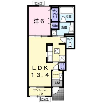 物件番号: 1110309816 フローラシオン森  富山市森1丁目 1LDK アパート 間取り図