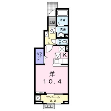 物件番号: 1110309839 ラ・セーヌ ミヨイ Ⅰ  富山市山室 1K アパート 間取り図