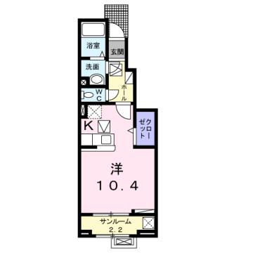 物件番号: 1110309840 ラ・セーヌ ミヨイ Ⅰ  富山市山室 1K アパート 間取り図