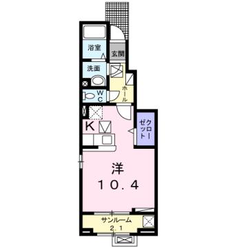 物件番号: 1110309841 ラ・セーヌ ミヨイ Ⅰ 富山市山室 1K アパート 間取り図