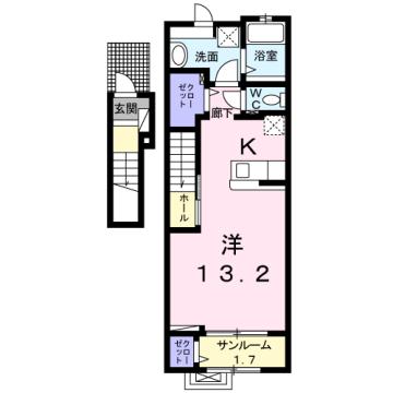 物件番号: 1110309843 ラ・セーヌ ミヨイ Ⅰ  富山市山室 1K アパート 間取り図