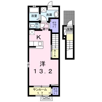 物件番号: 1110309846 ラ・セーヌ ミヨイ Ⅰ 富山市山室 1K アパート 間取り図