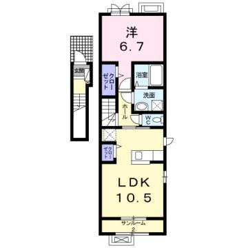 物件番号: 1110309852 ラ・セーヌ ミヨイ Ⅱ  富山市山室 1LDK アパート 間取り図