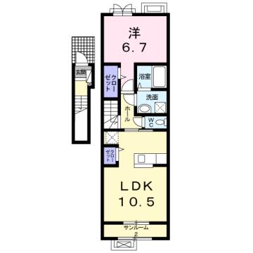 物件番号: 1110309853 ラ・セーヌ ミヨイ Ⅱ  富山市山室 1LDK アパート 間取り図