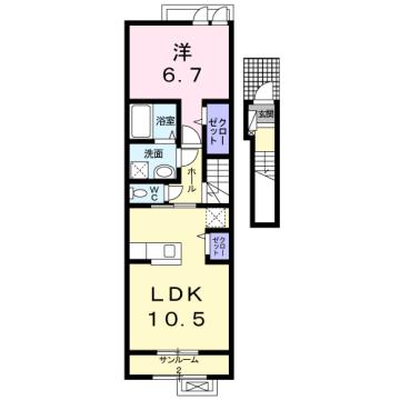 物件番号: 1110309855 ラ・セーヌ ミヨイ Ⅱ  富山市山室 1LDK アパート 間取り図