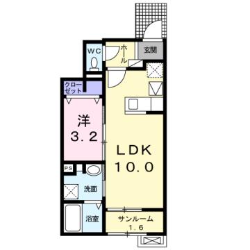 物件番号: 1110309859 ラ・セーヌ ミヨイ Ⅲ  富山市山室 1LDK アパート 間取り図