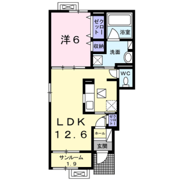 物件番号: 1110309863 エスペランス・KⅡ  富山市萩原 1LDK アパート 間取り図