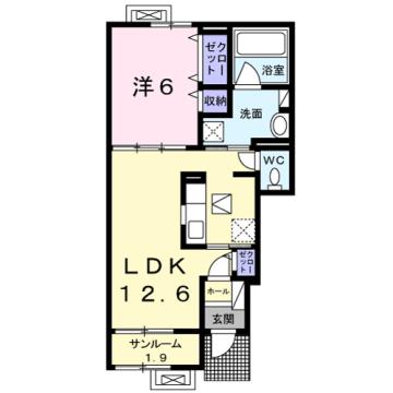 物件番号: 1110309864 エスペランス・KⅡ  富山市萩原 1LDK アパート 間取り図