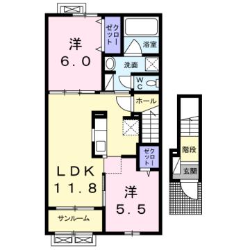 物件番号: 1110309869 エスペランス・KⅡ 富山市萩原 2LDK アパート 間取り図
