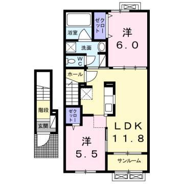 物件番号: 1110309870 エスペランス・KⅡ  富山市萩原 2LDK アパート 間取り図