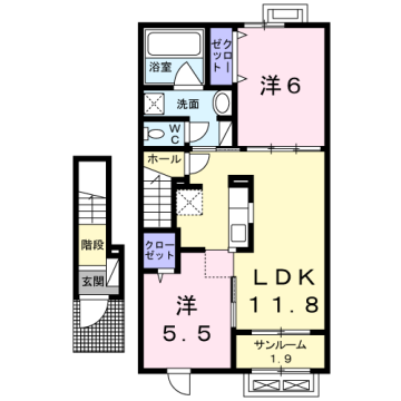物件番号: 1110309871 エスペランス・KⅡ 富山市萩原 2LDK アパート 間取り図