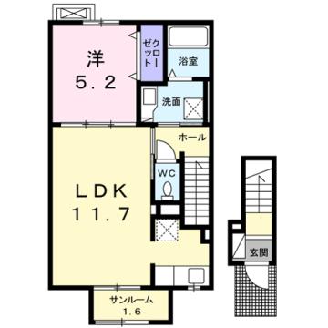 物件番号: 1110309880 シャルマンⅣ  富山市山室荒屋 1LDK アパート 間取り図
