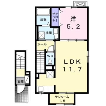 物件番号: 1110309882 シャルマンⅣ 富山市山室荒屋 1LDK アパート 間取り図