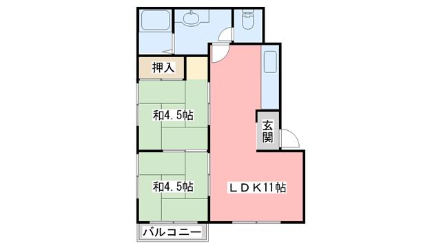 物件番号: 1110300388 リトルK  富山市高屋敷 2LDK アパート 間取り図