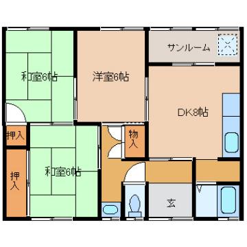 物件番号: 1110301299  富山市中川原 3DK アパート 間取り図