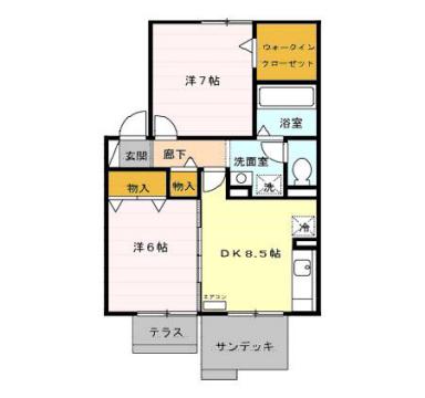 物件番号: 1110303336 レ・セリジエ 富山市赤田 2DK アパート 間取り図