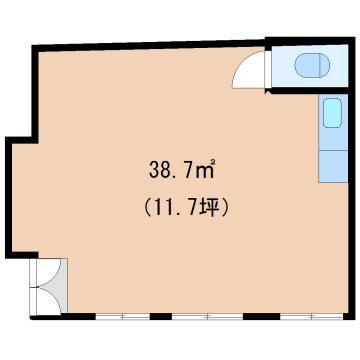 物件番号: 1110303473 リトルK  富山市高屋敷 1R アパート 間取り図