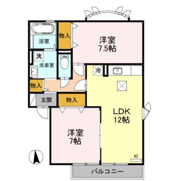 物件番号: 1110305442 アザレアパークA 富山市山室 2LDK アパート 間取り図