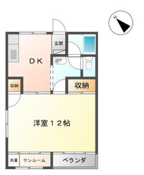 物件番号: 1110305953 ハイツなかがわら  富山市中川原 1DK アパート 間取り図